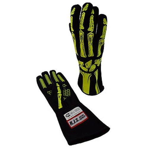 RJS Racing Equipment Mens Single Layer Skeleton GlovesYellow Medium 1 Pack