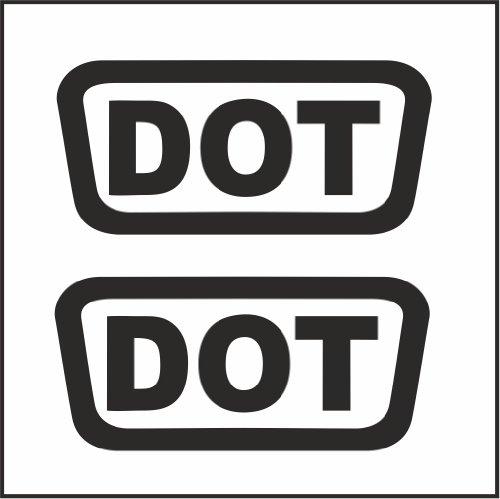 2pcs DOT Replacement Logo Helmet Motorcycle Decal Sticker M1 15 Reflective Black