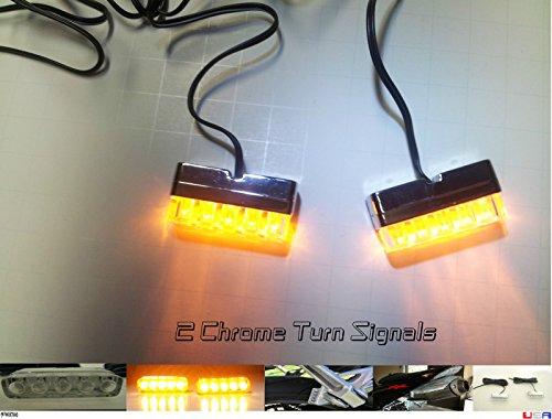 Chrome Clear LED Motorcycle Turn Signals Blinkers Rear Peg Light Slim Flush RR Shadz_LED