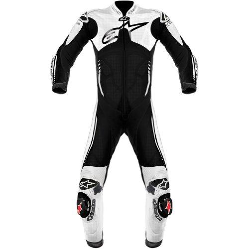 Alpinestars Atem Men's 1-piece Leather On-road Motorcycle Race Suits - Black/white / Size 52