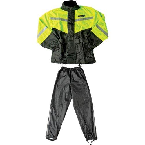 Fly Racing Standard Adult 2-Piece Street Motorcycle Rain Suit - BlackHi-Viz Yellow  2X-Large