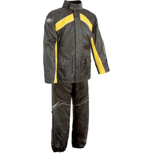 Joe Rocket RS-2 Mens 2-Piece Street Racing Motorcycle Rain Suits - BlackYellow  2X-Large