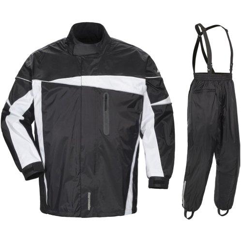 Tour Master Defender 20 Mens 2-Piece Street Bike Racing Motorcycle Rain Suit - BlackBlack  2X-Large