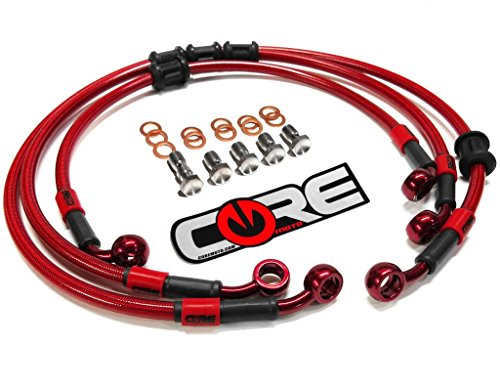 Core Moto - Yamaha YZF R6S 2006-2009 Performance Brake lines Front and Rear Combo - Translucent Red
