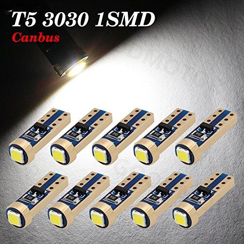 Boodled 10x Super Bright 3030 SMD T5 Canbus Error Free Instrument Speedo Gauge Cluster 37 73 74 79 17 57 LED Lights bulb 10xT5-3030-1-JM Super White 6000k~6500k