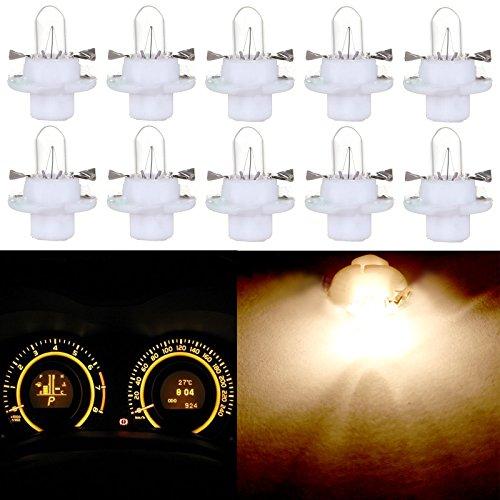 CCIYU 10 Pack T5 B84D 5050 LED SMD Warm White For BMW Dodge Benz Dashboard Gauge Cluster LED Light Bulbs