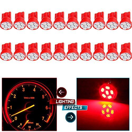 CCIYU 20 Pack Red T10 194 8-Epistar-3020-SMD LED Bulb Lights Instrument Panel Gauge Cluster Repair Kit W Twist Lock Sockets
