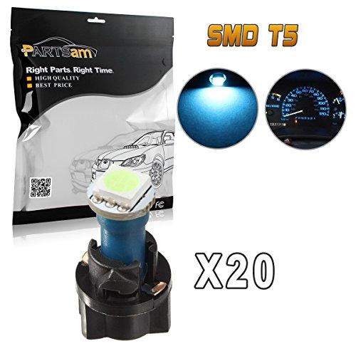 Partsam 20PCS Ice Blue PC74 T5 37 74 Instrument Panel LED Light Gauge Cluster Dash Lamp Bulbs with Twist Socket