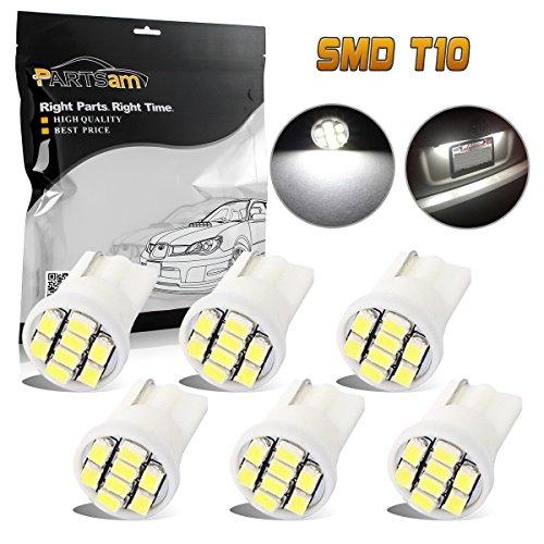Partsam T10 194 LED Light Bulb 168 LED Bulbs 6000K Instrument Panel Gauge Cluster Dashboard LED Light Bulbs for Ford Toyota Tacoma Chevrolet 6Pcs-White