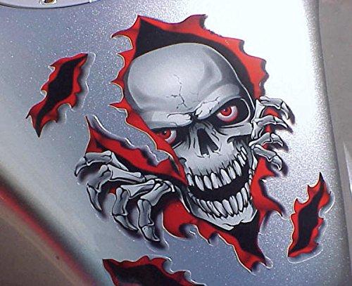 I5® Red Skull Decal Graphic For Honda Kawasaki Suzuki Yamaha Harley