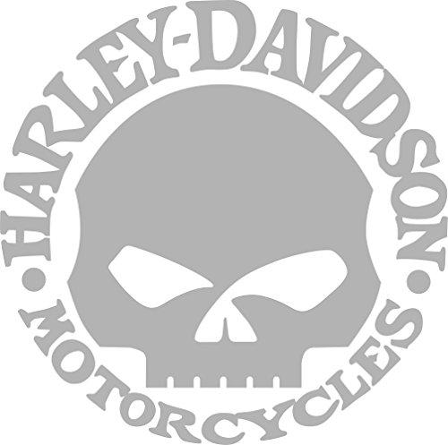 "Willie G Skull Harley Davidson Motor Cycles Window Decal (4.5"" X 4.5"", Chrome)"