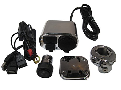 3 In 1 Motorcycle Atv Accessory Kit. Handlebar Power Station. Cig Lighter, Usb Charger, Voltage Meter