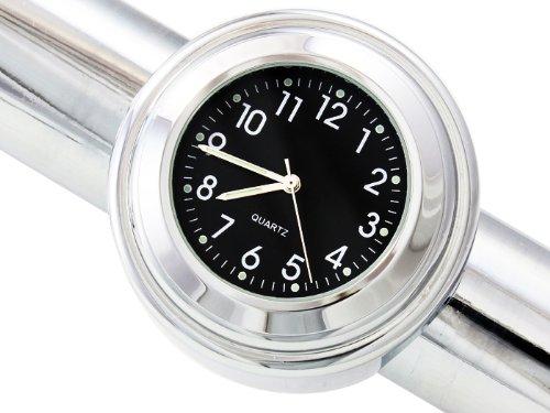 "Tms® 7/8"" 1"" Motorcycle Handlebar Chrome Black Dial Clock For Harley Davidson Honda Yamaha Suzuki Kawasaki"