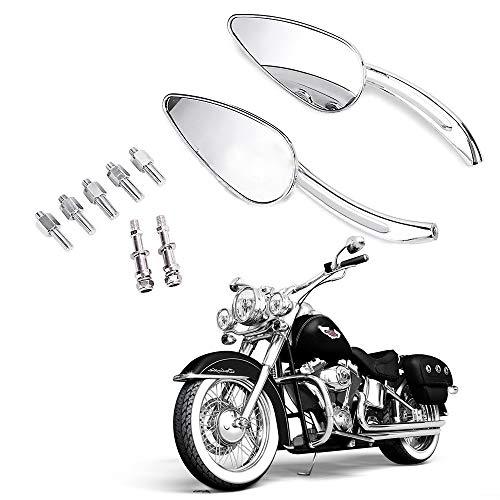 8mm10mm Motorcycle Chrome Skull Teardrop Rearview Side Mirrors For Harley Dyna Electra Glide Cross Bones Fatboy Heritage Softail Iron Night Rod Road Glide King Rocker Sportster