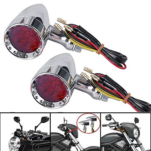 Chrome Motorcycle Bullet LED Turn Signal Lights Red Lights Blinker Indicator Front Rear Tail Light for Harley Honda Ymaha Suzuki Kawasaki Red Light Chrome 3 Wire