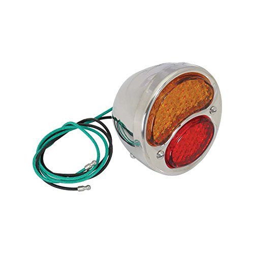 MACs Auto Parts 28-21133 Model A Ford LED Tail Light Assembly - Half Amber - 12 Volt - Negative Ground - Left - With White License Plate Light