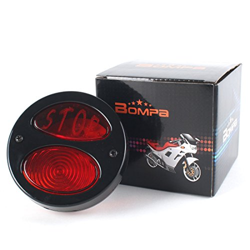 BOMPA STOP Script 35 LED Tail Brake Stop License Light Black Housing with Red Lens Red Light Universal Fit for Motorcycles Bikes