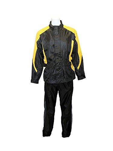 RoadDog 2 Piece Stay-Dry Motorcycle Rain Suit Waterproof Adult Unisex Yellow Lg