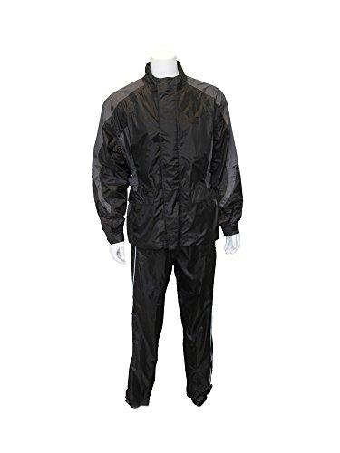 RoadDog 2 Piece Stay-Dry Rain Suit Waterproof Adult Unisex - SilverBlack - 2XL