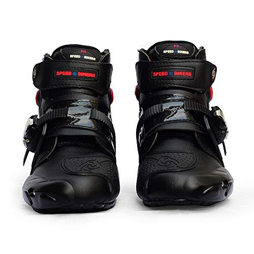 KLJKUJ Men Soft Motorcycle Boots Biker Waterproof Speed Motocross Boots Non-Slip Motorcycle Shoes Black 9