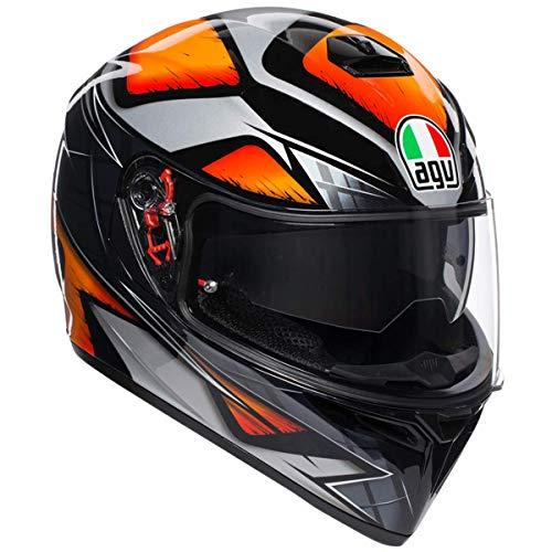AGV Unisex-Adult Full Face K-3 SV Liquefy Motorcycle Helmet BlackOrange MediumLarge