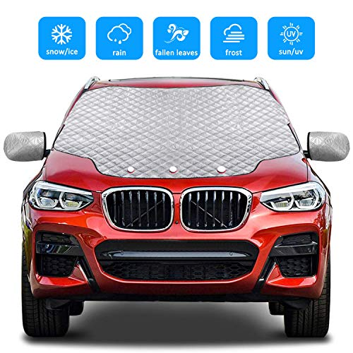 Gintenco Car Windshield Snow Cover Frost Ice Windscreen Covers with Magnetic Edges 4 Layers Thickness Snow Protector Covers with Side Mirrors Cover Easy to Use for Car SUV CRV Trucks