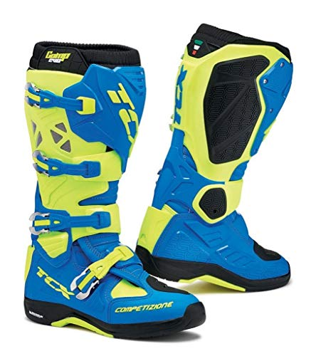 TCX Mens Comp EVO Michelin Off-Road Motorcycle Boots - Royal BlueYellow Fluo Size 44