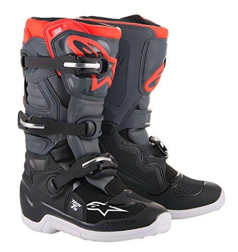 Alpinestars Tech 7S Youth Off-Road Motocross Boot 4 US Black Dark Gray Red Fluo