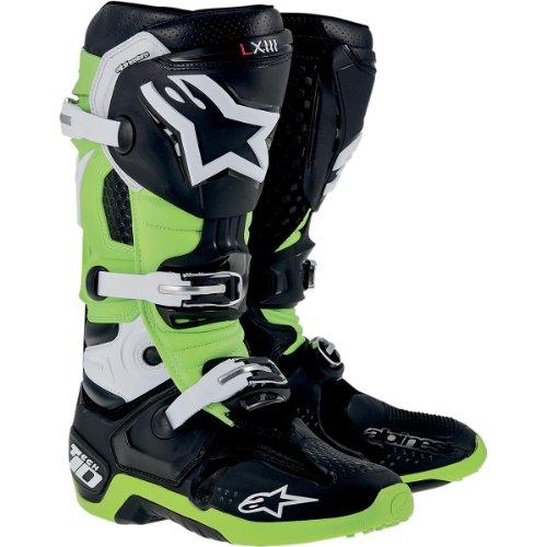 Alpinestars Tech 10 Boots  Primary Color Black Size 8 Distinct Name BlackGreen Gender MensUnisex 2010014168