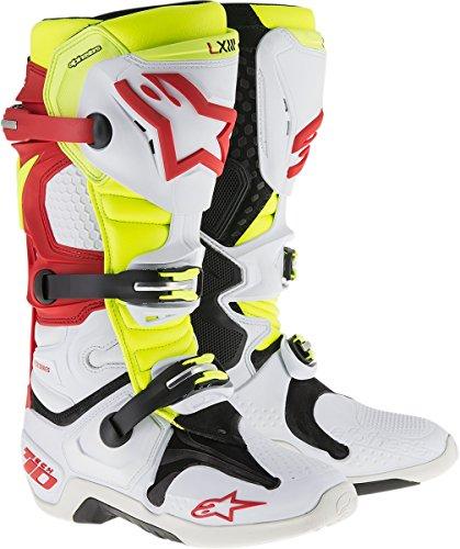 Alpinestars Tech 10 Boots-WhiteRedYellow-10