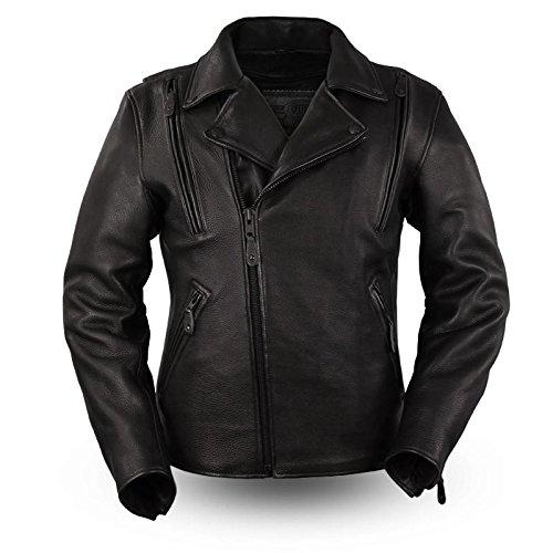 First Manufacturing Platinum Series Mens Night Rider Leather Jacket Black XX-Large