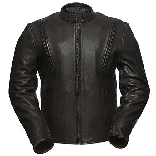 First Manufacturing Platinum Series Mens Revolt Leather Jacket Black XX-Large