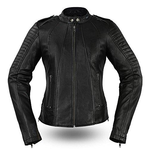 First Manufacturing Womens Biker Leather Motorcycle Jacket Black Medium