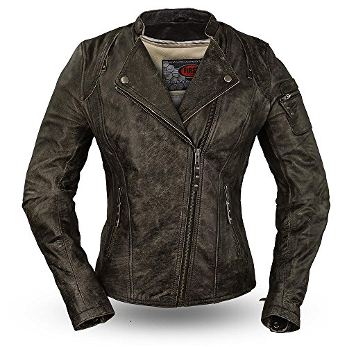 First Manufacturing Womens Jasmin Leather Motorcycle Jacket Black XX-Large