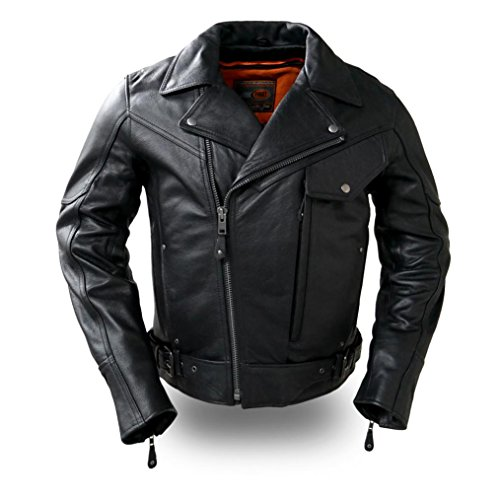 First Manufacturing mens Major Ego Leather JacketBlackLarge1 Pack