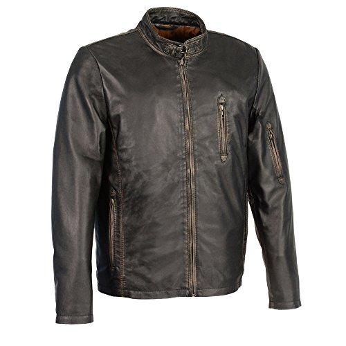 Milwaukee Leather Mens Sheepskin Moto Racer Leather Jacket With Throat Latch BlackBrown Medium 1 Pack