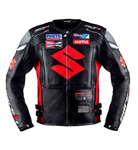 Suzuki Black Motorcycle Racing Leather Jacket LEU52-54