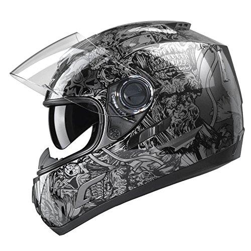 GLX Full Face Street Bike Motorcycle Helmet Dual Visor Sun Shield DOT Approved Silver