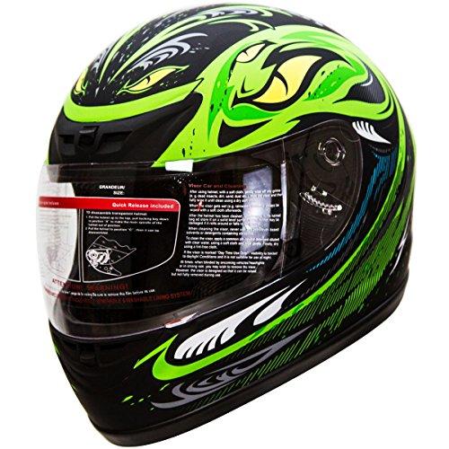 IV2 Serpent Green Full Face Street Bike Motorcycle Helmet DOT - XL