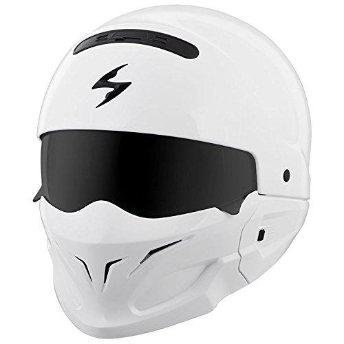 Scorpion Covert Open-Face Solid Helmet Gloss Street Bike Motorcycle Helmet - White  Medium