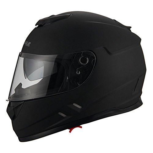 Triangle Full Face Black Street Bike Motorcycle Helmets DOT Medium Dual VisorMatte Black