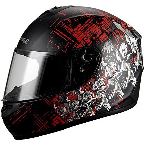 Triangle Skull Full Face Street Bike Motorcycle Helmets DOT Matte Black Medium