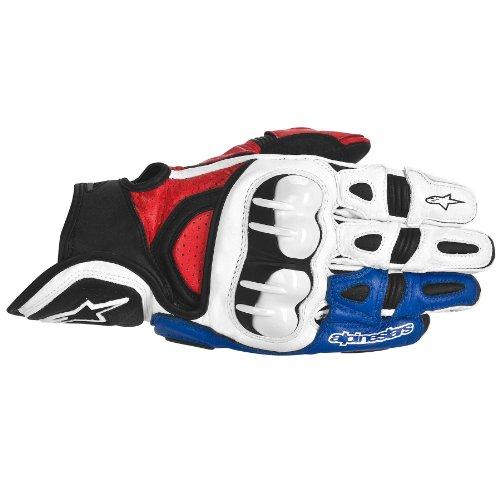 Alpinestars GPX Leather Gloves  Gender MensUnisex Distinct Name WhiteRedBlue Primary Color White Size 2XL Apparel Material Leather 3567013-237-2X
