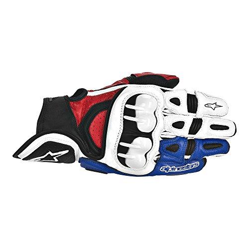 Alpinestars GPX Leather Gloves  Gender MensUnisex Distinct Name WhiteRedBlue Primary Color White Size XL Apparel Material Leather 3567013-237-XL