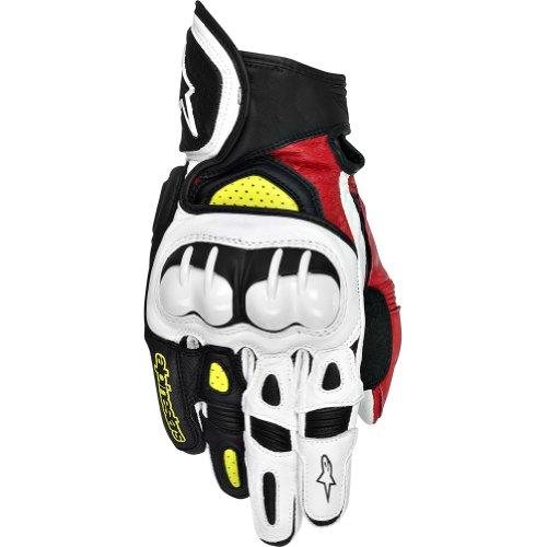 Alpinestars GPX Mens Leather Street Bike Motorcycle Gloves - BlackRedYellow  Large