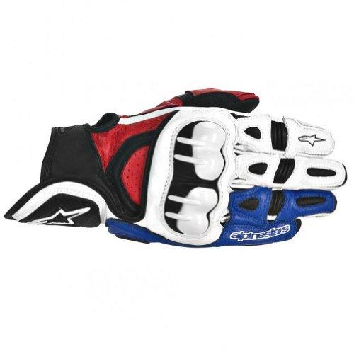 Alpinestars GPX Mens Leather Street Bike Motorcycle Gloves - WhiteRedBlue  3X-Large