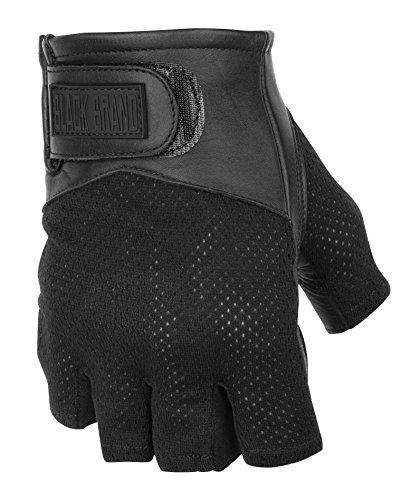 Black Brand Mens LeatherMesh High Flow Shorty Motorcycle Gloves Black Large
