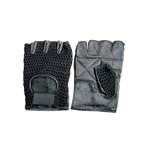 Leather Mesh Fingerless Gloves Padded Palms weightlifting Gloves Work Gloves Biking Gloves Black S