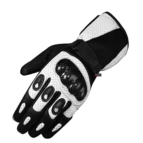 Motorcycle Perforated Leather Mesh Gloves Mens White Touch Screen Fingertip M