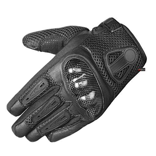 New Men Short Motorcycle Leather Mesh Gloves Black Carbon Fiber XL
